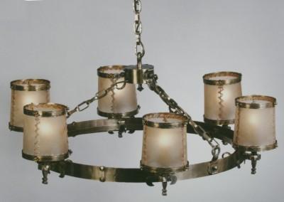 geschmiedeter Messing Hängeleuchte, 6-flammig mit Schirmen aus Pergament / echtem Transparentleder ,Hängelampe auch für Weinkeller, Heurigenlokale, Nr. 82071