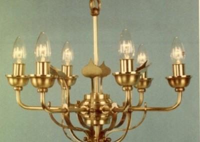 Messing Leuchte, geschmiedete Hängeleuchte VELDEN 6-flg., Nr. 82700