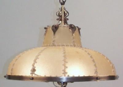 geschmiedet Messing Hängeleuchte ,Schirm mit Pergament / Transparentleder, genäht mit Leder- oder Hautstreifen,Pendelleuchte, rustikale Lampe, Nr. 82770