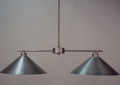 handgefertigte Alu Hängeleuchte mit 2 Schirmen, Pendelleuchte, Nr. 82875