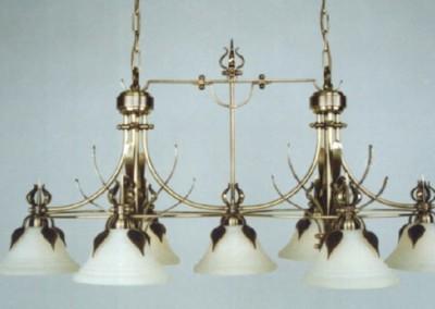 aufwendig geschmiedete  Hängeleuchte Bern7-flammig, mit Glasschirm in Messing, Luster Nr. 82920