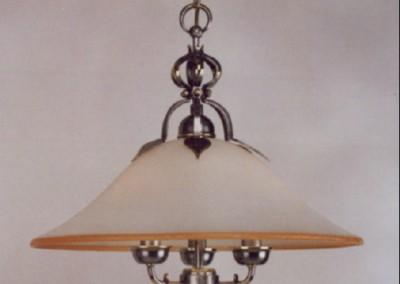 geschmiedete Hängeleuchte Bern mit Glasschirm in Messing/verzinnt, Nr. 82932