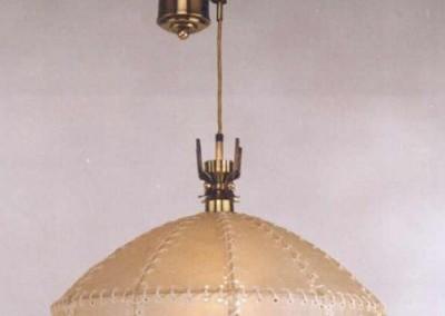 Zugleuchte, handgefertigte Leuchte mit Pergament und Messing,Schirm mit echtem Transparentleder, genäht mit Leder- oder Hautstreifen,Pendelleuchte, rustikale Lampe, Nr. 83020