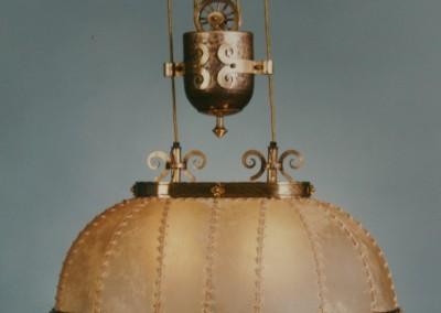 Messing Zugleuchte, handgefertigte Leuchte mit Pergament und Messing,Schirm mit echtem Transparentleder, genäht mit Leder- oder Hautstreifen,Pendelleuchte, rustikale Lampe,Nr. 83104, 83105, 83098