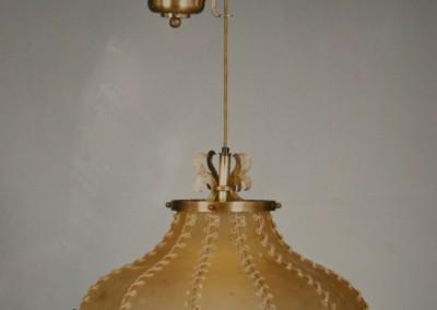 Messing Zugleuchte, handgefertigte Leuchte mit Pergament und Messing,Schirm mit echtem Transparentleder, genäht mit Leder- oder Hautstreifen,Pendelleuchte, rustikale Lampe, MAILAND KETTE Nr. 83206, 83205