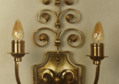 Wandbeleuchtung Messing, Kärnten 2-flammig,Messing,  aufwendig geschmiedete Wandbeleuchtung, Nr. 84212