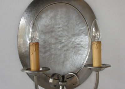 Wandbeleuchtung verzinnt, KORNHÄUSL 2 FLG Messing, verzinnt,H:380mm,B:300 mm, Nr. 84262