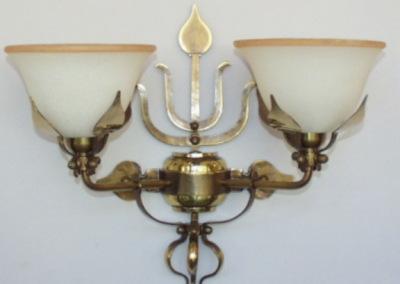 handgefertigte Wandbeleuchtung in Messing, BERN WL 2-flammig,Glasschirm: Dm180mm), Nr. 84922