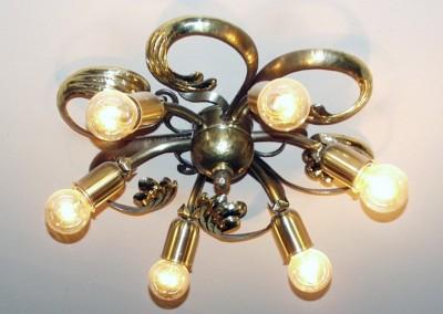 Messing,  Deckenlampe, geschmiedet,DECKENSTERN WEISSENSEE 6-flammig,Dm: 400mm, Ms, Nr. 85220