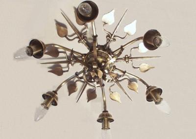 Deckenleuchte in  Messing, aufwendig, geschmiedet,VELDEN Deckenlampe, 6-flg.,Dm 500mm,Ms, Nr. 85701