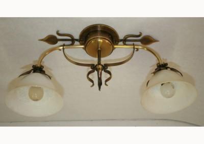 geschmiedete Messing Deckenleuchte mit Glasschirmen, BERN DL,mit Glassch.OL(Dm180mm),2-flg.m.Blattornam.Ms, Nr. 85902