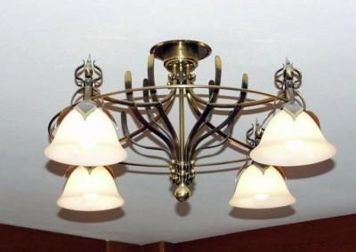 """ceilling-lighting""""Bern""""4 glass-shades,brass,diameter:700mm"""