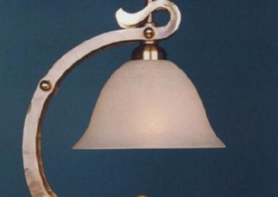 Messing Tischleuchte geschmiedet, BERN Tischlampe H:350mm,mit Glasschirm Dm180mm, Nr. 86900