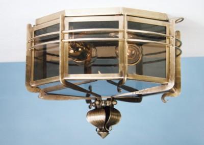 Messing Deckenlampe, geschmiedet, Arosa 2-flammig, Nr. 90132, 90131