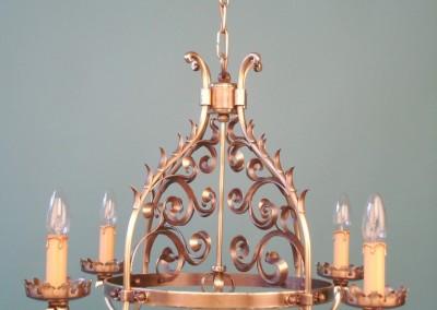 geschmiedete Hängeleuchte in Messing, handgefertigter GRAND PARADIS Luster 4-flg.,DM:600mm,H:420mm,in Schmiedbronze, Nr. 82215