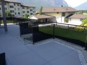 Glasgeländer Terrasse, Glas / Stahl roh