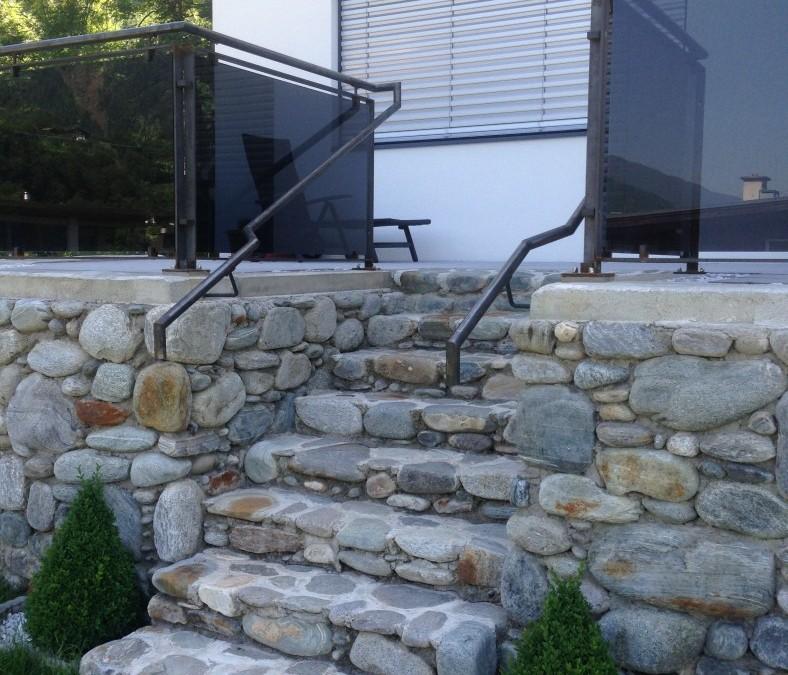 Glasgeländer Eisen/roh für Terrasse