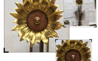 Grabkreuz Messing, Kupfer mit Sonnenblume